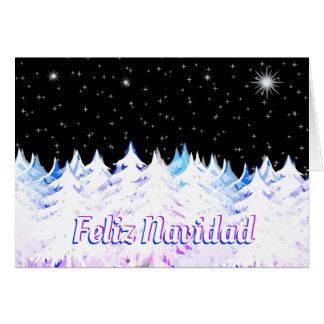 Feliz Navidad Eve Night Stars Snow Laden Trees Card