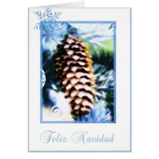 feliz navidad fir tree cone Spanish merry christma Card