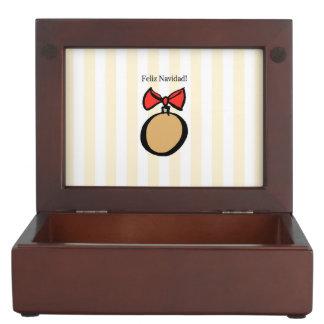 Feliz Navidad Gold Ornament Keepsake Box Yellow