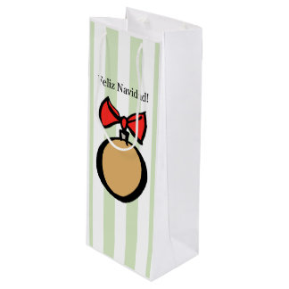Feliz Navidad Gold Ornament Wine Gift Bag Green