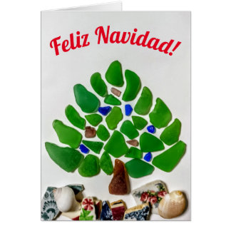 Feliz Navidad Green Sea Glass Tree Card