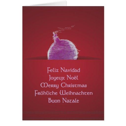 Feliz Navidad Joyeux Noël Merry Christmas Greeting Card