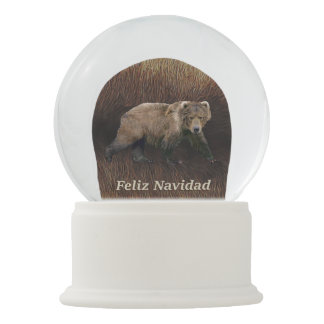 Feliz Navidad - Kodiak Bear On Caribou Fur Snow Globe