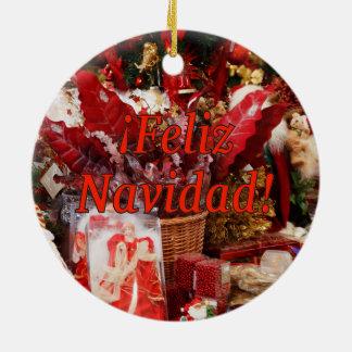 ¡Feliz Navidad! Merry Christmas in Spanish rf Round Ceramic Ornament