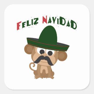 Feliz Navidad Monkey Square Sticker