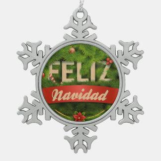 Feliz Navidad Pewter Snowflake Ornament