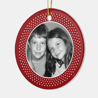 Feliz Navidad Photo Frame Round Ceramic Ornament