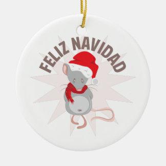 Feliz Navidad Round Ceramic Ornament