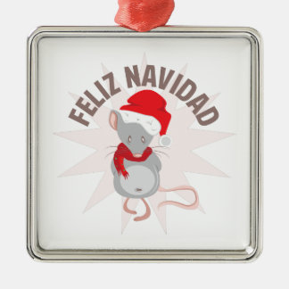 Feliz Navidad Silver-Colored Square Ornament