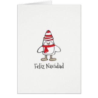 "Feliz Navidad Simple Penguin (5"" x 7) Card"