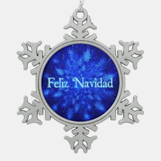 Feliz Navidad - Snowburst Pewter Snowflake Ornament