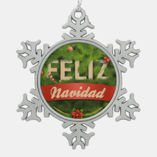 Feliz Navidad Snowflake Pewter Christmas Ornament