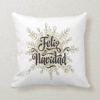 Feliz Navidad Snowflake Spanish Christmas Pillow