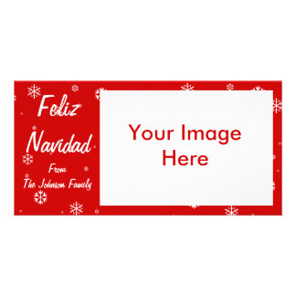 Feliz Navidad Snowflakes Photo Greeting Card