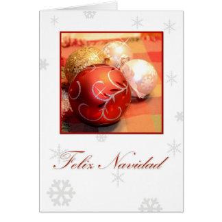 Feliz Navidad, Spanish white with ornaments and sn Card