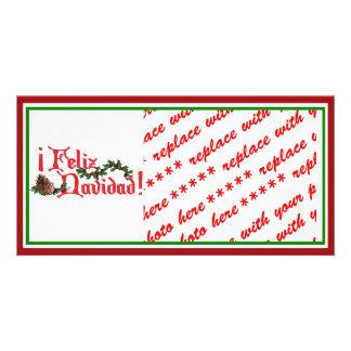 Feliz Navidad Text Design with Pine Cones Photo Card Template