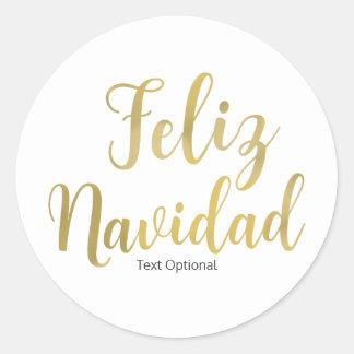 FELIZ NAVIDAD White Type Custom Christmas Holiday Classic Round Sticker
