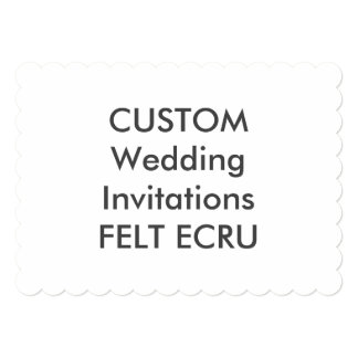 "FELT ECRU 110lb 7x5"" Scalloped Wedding Invitations"