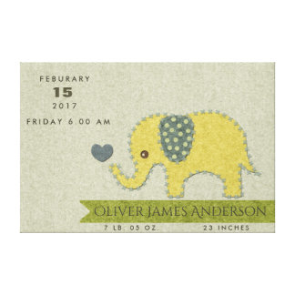 FELT PATCHWORK BABY ELEPHANT BIRTH STATEMENT CANVAS PRINT