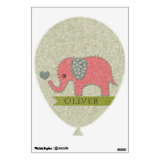 FELT PATCHWORK PINK BABY ELEPHANT BIRTH STATEMENT WALL DECAL