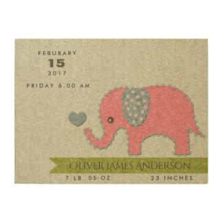 FELT PATCHWORK PINK BABY ELEPHANT BIRTH STATEMENT WOOD CANVASES