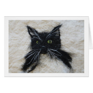 Felted Tuxedo Cat Card