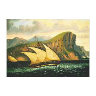 Felucca off Gibraltar by Thomas Chambers Canvas Print