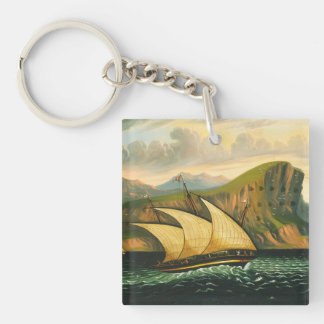 Felucca off Gibraltar by Thomas Chambers Keychain