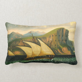 Felucca off Gibraltar by Thomas Chambers Lumbar Pillow