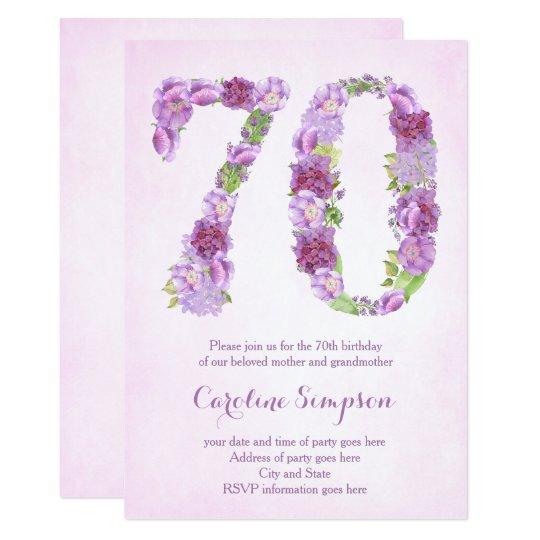 Female 70th Birthday Invitations Lavender Invites