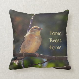 Female American Goldfinch - 2 sided Throw Pillow