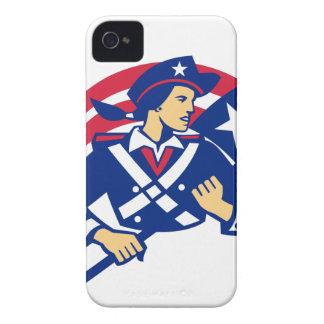Female American Minuteman Holding Flag Retro Case-Mate iPhone 4 Case
