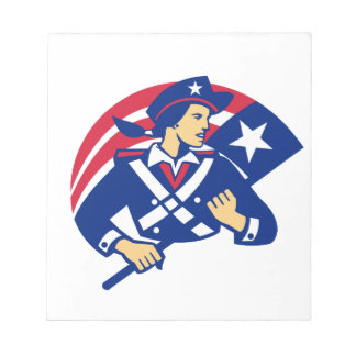 Female American Minuteman Holding Flag Retro Notepads