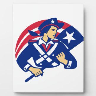Female American Minuteman Holding Flag Retro Plaque