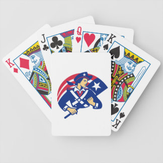 Female American Minuteman Holding Flag Retro Poker Deck