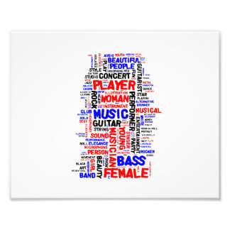 Female bass player wordle 1 red blue black photo print