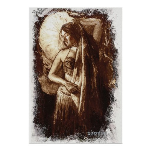 Female Belly Dancer with a Veil Poster