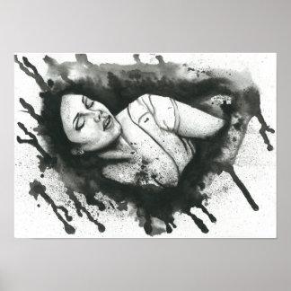 Female black and white watercolor portrait poster
