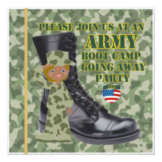 "Female Black Soldier Boot Camp Going Away 5.25"" Square Invitation Card"