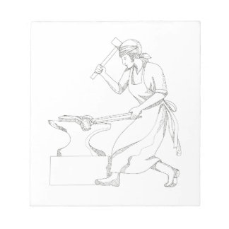 Female Blacksmith at Work Doodle Art Notepad