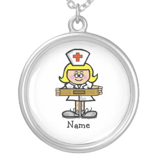 Female Blonde Nurse Necklace   Customize With Name