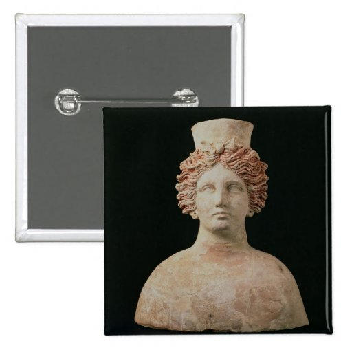 Female bust with kalathos from Ibiza, 5th century Pinback Buttons