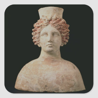 Female bust with kalathos from Ibiza, 5th century Square Sticker