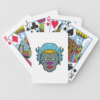 Female Calavera Sugar Skull Mono Line Bicycle Playing Cards