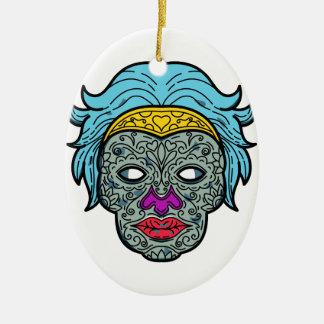 Female Calavera Sugar Skull Mono Line Ceramic Ornament