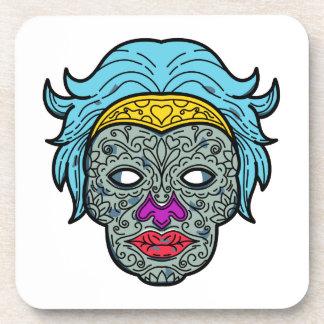 Female Calavera Sugar Skull Mono Line Coaster