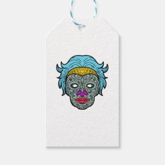 Female Calavera Sugar Skull Mono Line Gift Tags