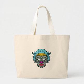 Female Calavera Sugar Skull Mono Line Large Tote Bag