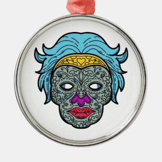 Female Calavera Sugar Skull Mono Line Metal Ornament