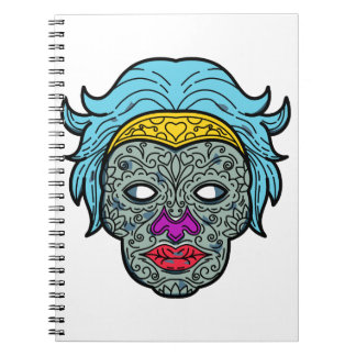 Female Calavera Sugar Skull Mono Line Notebook